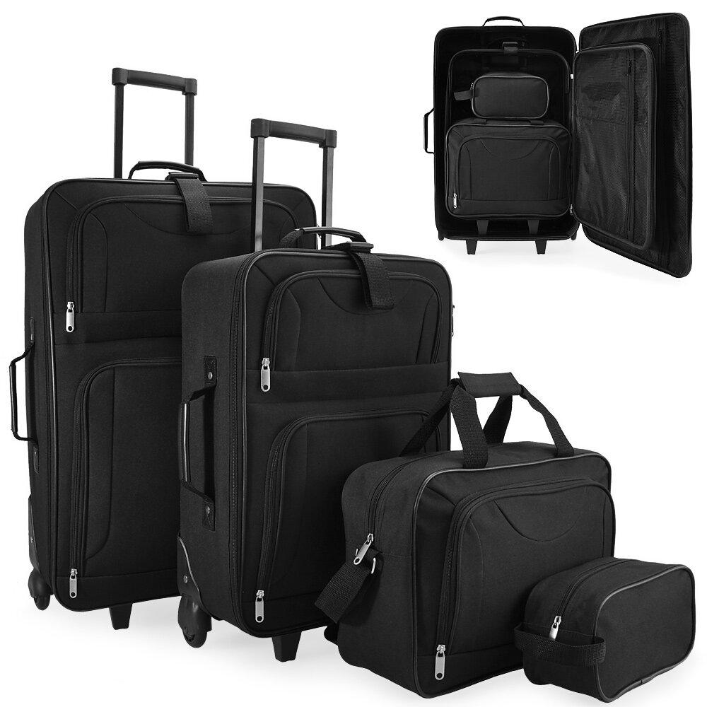 1fcc7b7a23287 Set cestovných kufrov na kolieskach čierna farba 4-dielny (60l, 34l, 16l,  3l)