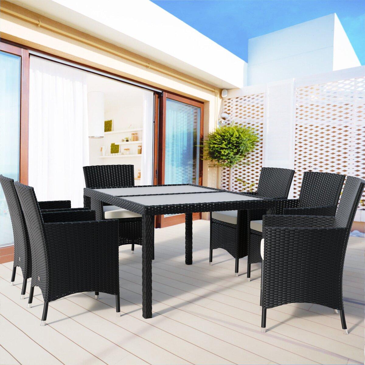 95d298027a98a Súprava ratanového záhradného nábytku DALMACIA 6+1 čierna | Jurhan.com